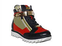 Женские кожаные кроссовки-сникерсы Sasha Fabiani (красные) №К13В5-061-6