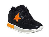 Женские кожаные кроссовки (черные) Dali Fashion № 6073-2