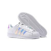 Кроссовки Adidas Superstar White Metallic Silver. Живое фото. Топ качество! (адидас суперстар)