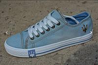 Женские кеды converse all star низкие джинсовые синие, копия, фото 1