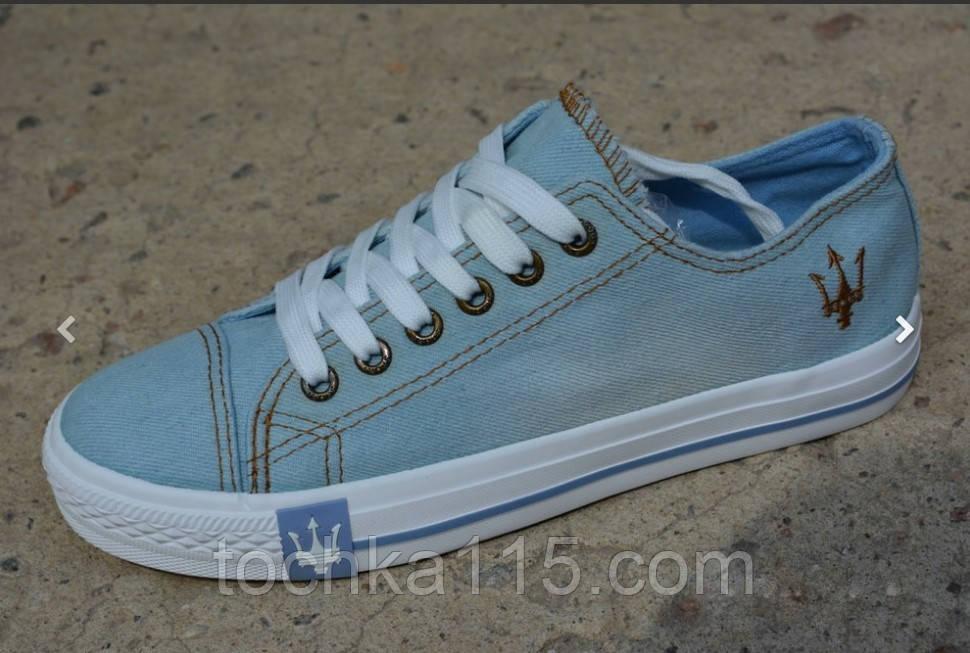 Женские кеды converse all star низкие джинсовые синие, копия