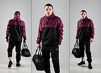 Анорак, ветровка, куртка весенняя, осенняя, черный+бордовый