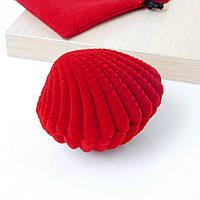Футляр ракушка 53810 для кольца-серег, красный 5*6.5 см