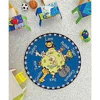 Ковер в детскую комнату Confetti - Animal Planet голубой Ø 133