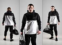 Анорак, ветровка, куртка весенняя, осенняя, черный+белый
