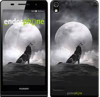 """Чехол на Huawei Ascend P6 Воющий волк """"934c-39"""""""