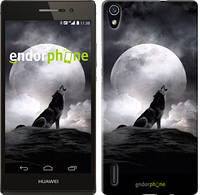 """Чехол на Huawei Ascend P7 Воющий волк """"934c-49"""""""