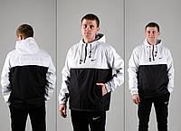 Анорак, ветровка, куртка весенняя, осенняя, белый+черный