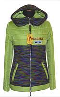 Жіноча весняна курточка з вставками трикотажу.Розміри 42-56