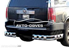 Защита заднего бампера на Cadillac Escalade ESV (2007-2014), углы двойные