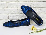 Туфли балетки из натуральной кожи в черно-синего цвета