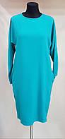 Стильное платье изумрудного цвета с карманами (Италия)
