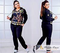 Женский спортивный костюм, размер 50,52,54,56. Ткань двунитка + перед масло