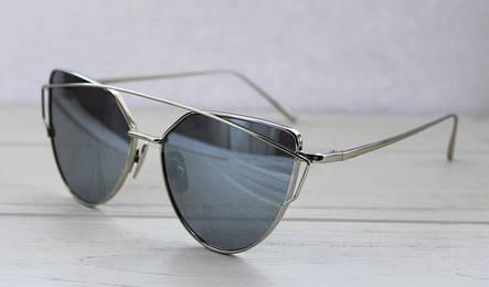Женские солнцезащитные очки необычной формы с зеркальными линзами, фото 2