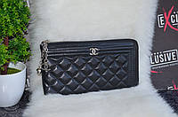 """Матовый кошелек - клатч """"Chanel"""" черный."""