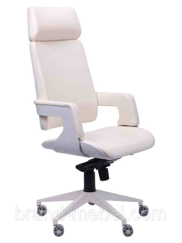Кресло Axon белый, к/з ваниль