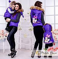Детская жилетка с мехом енота для девочки (мама и дочка)