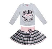 Комплект для девочки мишки серая кофта и розовая юбка