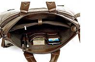 Мужская кожаная сумка для ноутбука. Модель 2019. Коричневый, фото 8