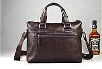 Мужская кожаная сумка для ноутбука. Модель 2019. Коричневый, фото 9