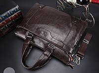 Мужская кожаная сумка для ноутбука. Модель 2019. Коричневый, фото 5