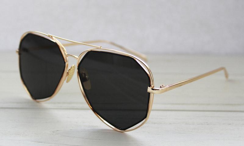 Женские утонченные солнцезащитные очки геометрической формы