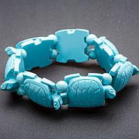 "Браслет на резинке Черепахи пластик цвет ""бирюзовый"" ""звено"" 24х30мм"