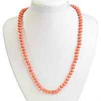 Бусы розовые Коралл (имитация) с алмазной огранкой,  шарик  10мм, длина 56,5см