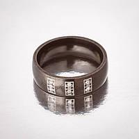 """Кольцо  """"Обручка"""" р-р 17-21 черная эмаль 6 камней h-6мм 20"""