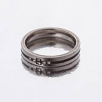"""Кольцо """"Обручка"""" черная полоска р-р 16-20 двойное """"серебро""""  h-4мм 16"""