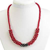 Ожерелье красный Коралл и чешское стекло с ювелирными гвоздями светлое серебро, длина 49см