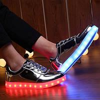Серебряные LED кроссовки LEDKED Glance Silver светящиеся взрослые , фото 1