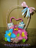 Кошик з іграшками та квітами з ненадутих (повітряних) кульок!