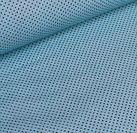 Ткань хлопок с графитовыми точками на светло-бирюзовом или лазурном фоне №535