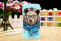Оригинальный чехол для Samsung Galaxy Star Advance G350 с картинкой медведь в наушниках