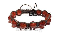 Кожаный браслет из сердолика shamballa