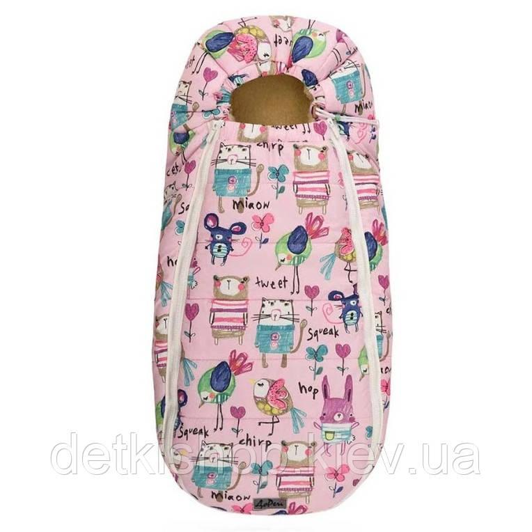 Конверт-кокон на овчине Baby XS ДоРечі (рисунки на розовом фоне)