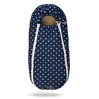 Конверт-кокон на овчине Baby XS ДоРечі (синий в белые звёзды)