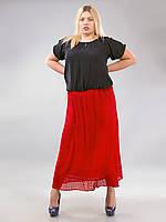 Юбка красная длинная прямая с вышивкой, 52-60 размеры 52