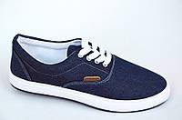 Кеды типа Vans Ванс слипоны мокасины мужские джинсовие джинс на шнурках темно синие.Экономия 85грн