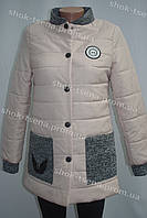 Демисезонная женская куртка светло бежевая на кнопках