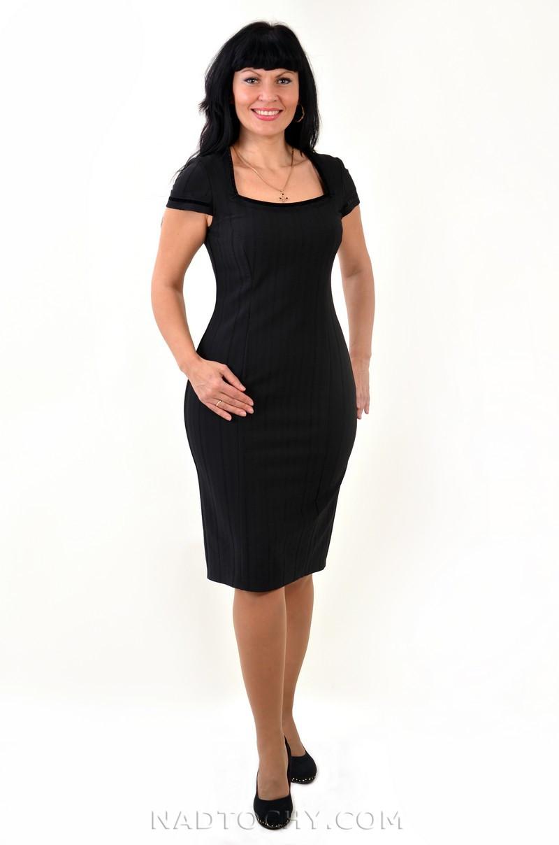 Платье сарафан черное стрейч с кружевом женское вечернее ПЛ 065