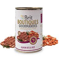 Brit Boutiques Gourmandes Salmon Bits and Pate полноценный консервированный корм для собак с кусочками лосося в паштете, 400г