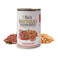 Brit Boutiques Gourmandes Chicken Bits and Pate полноценный консервированный корм для собак с кусочками курицы в паштете, 400г