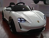 Детский электромобиль Порше Porsche, Кожа, Резина, 4 амортизатора белый, дитячий електромобіль