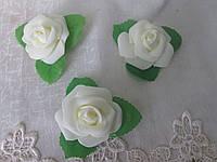 Головка троянди, 5 см, молочний
