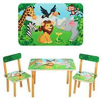 Столик деревянный, 60-40см, 2 стульчика, зоопарк, в кор-ке