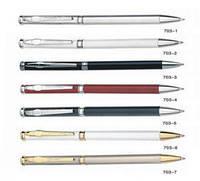 Ручка металлическая поворотная BAIXIN BP703G тонкая (белая+золото/серебро+стилус)