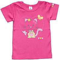Футболка для девочки, розовая с кошечкой, рост 80 см, 86 см, Фламинго