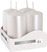 Свеча цилиндр декоративная 40х80мм (4шт) цвет белый перламутр